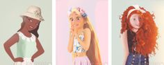 from Petite Tiaras-The Disney Princesses model outfits from ModCloth-Tiana, Rapunzel, Merida