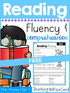 4 FREE Reading Fluency and ComprehensionTo see the full packet here:Reading Fluency and Comprehension SET 1These reading fluency phrases are great for literacy centers, morning work, guided reading, homework and more!!These fluency pages will give your students confidence in reading,and comprehension question for understanding.The sight words focused on:a, and, away, big, blue, can, come, down, find, for, funny, go, help, here, I, in, is, it, jump, little, look, make, me, my, not, one…