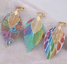 Colorful Copper Material Double Leaf Clip on Earrings for Women Clip On Earrings, Women's Earrings, Copper Material, Shape Patterns, Types Of Metal, Fashion Earrings, Classic Style, Colorful, Shapes