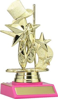 Dance and Stars - This beautifully presented trophy features the dance theme figurine poised atop a pink base. Dance Awards, Dance Themes, Perfume Bottles, Stars, Pink, Perfume Bottle, Sterne, Pink Hair, Roses