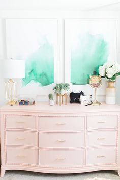 DIY Peach Dresser and Anewall Watercolor Print, McKenna Bleu Home Office. pink dresser, green and gold accents Bedroom Decor, Decor, Pink Dresser, Interior Design, Interior, Home Decor, Dresser Decor, Inspired Homes, Room Inspiration