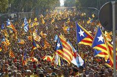 11 September 2014 - Catalonia National Day. Gran Via Corts Catalanes. Barcelona.