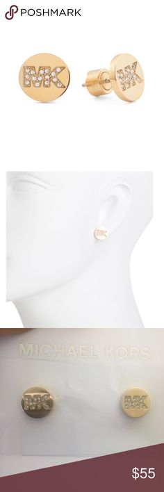 ✨NWT✨ Michael Kors Pave Logo Stud Earrings Gold NWT! Authentic Michael Kors gold tone pave crystal logo stud earrings. Comes with box, pouch, and care booklet. ***No Trades*** MICHAEL Michael Kors Jewelry Earrings