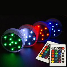 Free Shpping  (12 pieces/lot)  AAA battery operated Multi-colors LED vase light submersible led light with Remote Control