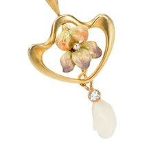 Art Nouveau in an Enamel Pearl Pendant - The Three Graces