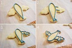 Avião-biscoitos-cor-fluxo-método-esboço