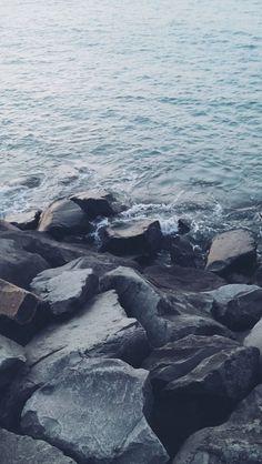 Nature Shore Rocky Stone Seaside #iPhone #5s #wallpaper