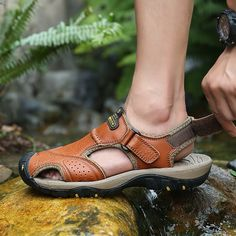 leather sandals and slippers outdoor wading shoes fashion summer sandals breathable Leather Slippers, Leather Sandals, Men Sandals, Casual Sneakers, Casual Shoes, Summer Shoes, Summer Sandals, Mens Beach Shoes, Best Shoes For Men