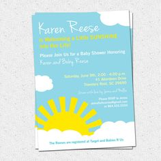 Cute Pink Baby Shower Invitation With Laughing Cartoon Sun  Baby