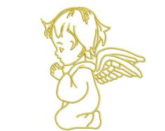 Angel Embroidery Design 3 SIZES / INSTANT DOWNLOAD 4x4 5x7 6x10