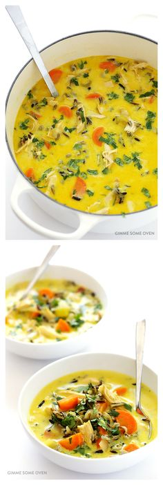 Curried Chicken & Wild Rice Soup -- a delicious twist on this classic soup Healthy Recipes, Soup Recipes, Chicken Recipes, Cooking Recipes, Wild Rice Recipes, Chicken Wild Rice Soup, Chicken Curry Soup, Soup And Sandwich, Soup And Salad