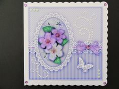 8x8 A Touch of Elegance Roses Pearls and Lace Quick card front with 3D decoupage - Photo by Valerie Spowart