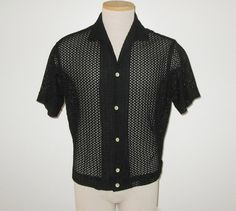 Vintage 1950s Black Open Weave See-Through Shirt - Size M by SayItWithVintage on Etsy