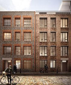 Blossom Street - break up the facade by using different material or pattern that makes a big block housing less intimadating