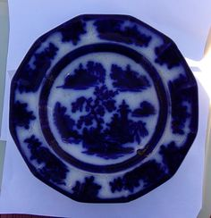 "Circa 1841-1859 flow blue ""Chapoo"" theme bowl by J. Wedgwood of England. Another thrift shop find.  Chapoo, now called Zhapu, in 1842 was a city involved in the Chinese Opium Wars."