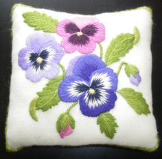 Pansy Pincushion a crewel embroidery kit for by NeedlewomanStudio