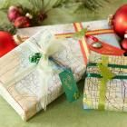 Wrap with maps  If you like to bring back gifts from your travels, wrap them in a map for a special touch (and a hint to what's inside).