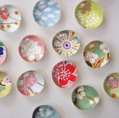 DIY paper glass magnets...another great gift set idea - use flat-backed marbles and glue whatever you want to the back!