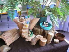 Hot glue gun and an old tree branch = beautiful playset for kids.