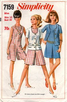 a5e9a14662bd Simplicity 7159 Womens Mini Culotte Dress   Jacket 60s Vintage Sewing  Pattern Size 12 Bust 32 inches