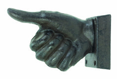 thumbs up hand wall hook . how clever! cast iron x x Cast Iron, It Cast, Decorative Wall Hooks, Iron Wall, Outlets, Clever, Lion Sculpture, Museum, Statue