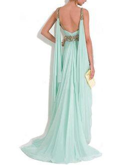Chic Chiffon V-neck Neckline Sheath Prom Dress
