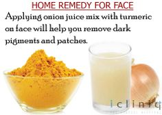 Applying onion #juice mix with turmeric on #face will help you remove #dark pigments and patches.
