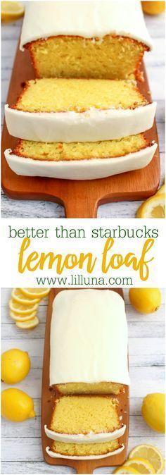 than Starbucks Lemon Loaf Dessert Bread Recipe via lil' luna - If you like Starbucks Lemon Loaf, then you'll love this moist, delicious Lemon cake! This easy to make recipe, is loaded with delicious lemon flavor, and topped with an amazing lemon frosting. Quick Bread Recipes, Sweet Recipes, Cake Recipes, Frosting Recipes, Quick Desert Recipes, Easy Dessert Recipies, Lemon Recipes Baking, Amazing Dessert Recipes, Vegan Recipes