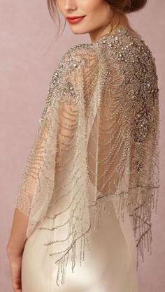 """Ursa"" beaded wrap/ embelllished sheer tulle shawl from Carol Hannah // Sun-Kissed Glamour: BHLDN's Spring II Collection Bridal Bolero, Bridal Cape, Bridal Gowns, Wedding Gowns, Wedding Bolero, Wedding Cape, Wedding Dress Sleeves, Long Sleeve Wedding, Wedding Dress Capelet"