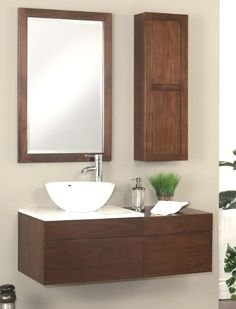 The Modesta Walnut bath vanity collection from Sagehill Designs.  Find out more at www.sagehilldesigns.com.