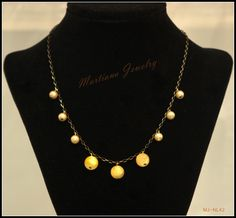 Autumn - Warm yellow beads with gold and black chain Necklace  http://MartianaJewelry.etsy.com