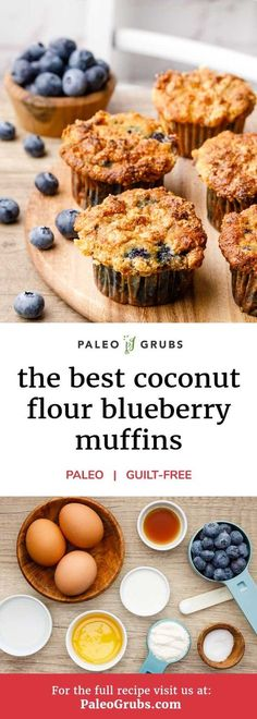 If you're an individual who is always feeling rushed in the mornings and you're looking for a breakfast option that's both nutritious and easy to grab and go, this recipe for coconut flour blueberry muffins is for you. The muffins are grain and gluten Paleo Dessert, Healthy Sweets, Healthy Baking, Healthy Snacks, Dessert Recipes, Healthy Recipes, Gluten Free Breakfasts, Gluten Free Desserts, Gluten Free Recipes