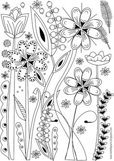 Free printable flower coloring page - ausdruckbare Ausmalseite - freebie | MeinLilaPark