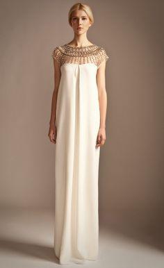 Long Crystal Stud Column Dress | Embellished Evening Gown | Temperley London