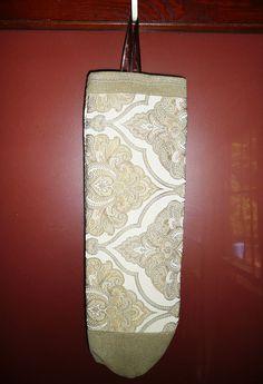 Plastic Bag Holder - Decorative Bag Holder - Cream Baroque Tan - Custom Designed Plastic Bag Holder by JollieSweets on Etsy