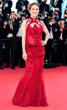 Best Dressed Stars on Cannes Red Carpet 2017 - Julianne Moore in a red floral dress
