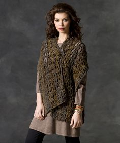 This easy-to-wear style is also easy to crochet! Made in Boutique yarn with a bit of sparkle, you can dress it up or down. It's a great gift since one size fits most everyone!