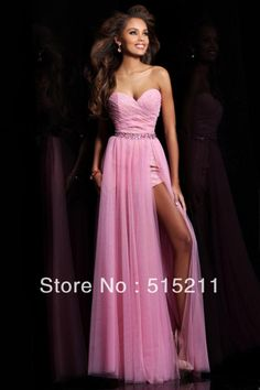 Lovely Sweetheart Sexy Side Slit Hot Pink Chiffon Long Prom Dress 2014 New Formal Evening Gowns Free Shipping $141.99