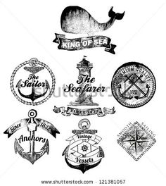 Set Of Vintage Retro Nautical Badges And Labels by Invisible Studio, via Shutterstock