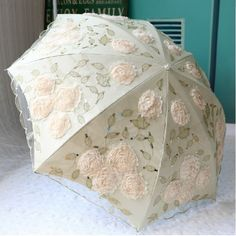 Women Embroidery Lace Umbrella ivory white Anti UV/Sun Rain Protection Parasol #MTParasol #foldingParasolUmbrella