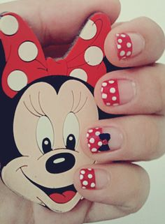 minnie nails :)/ Gonna have to try this out soon! So cute!