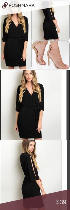 Elegance w/comfort Black Dress 5⭐️⭐️⭐️⭐️⭐️Rated This beautiful dress has a classic style and look. Features wrapped look with self tie waist sash, 3/4 sleeves w/slits. You will love this well constructed and affordable dress. Runs true to size. Only 4 left. Shell: 95% Polyester, 5% Spandex Lining: 100% Polyester (This closet does not trade or use PayPal) ❌Shoe pic from Pinterest ❌ Enfocus Studio Dresses Midi