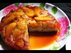 Apple Upside Down Cake Recipe - Eggless & Low Fat - Yummy Tummy