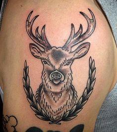 By Lisa Sinner at Adrenaline Toronto. #tattoos #toronto #adrenalinetoronto #blackandgrey #deer #deertattoos #torontotattoos