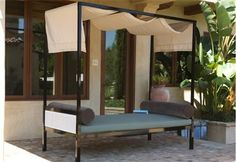 Found it at Wayfair - Parkview Woven Daybed Canopy Top Rattan Daybed, Daybed Canopy, Outdoor Daybed, Outdoor Retreat, Outdoor Spaces, Outdoor Furniture, Outdoor Decor, Daybeds, Garden Furniture
