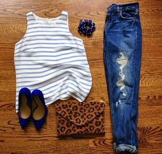 Striped cami, leopard clutch, distressed denim, and cobalt pumps