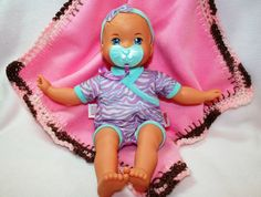 Solid Pink Neo Crochet Edge Fleece Baby by MonaSewingTreasures