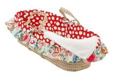 Cotton Tale Designs 100/% Cotton Soft Pink White Tan Floral Lattice Girl Wicker Moses Basket