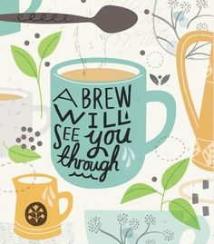 A Brew Will See You Through by Sarah Abbott on Etsy #coffee #art