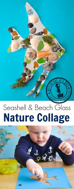 After spending a day on the beach, make a vacation keepsake with kids by turning all of their nature finds into a seashell, rocks and beach glass collage! Easy Art For Kids, Creative Activities For Kids, Creative Arts And Crafts, Summer Activities For Kids, Creative Kids, Toddler Activities, Nature Activities, Fun Activities, Activity Ideas